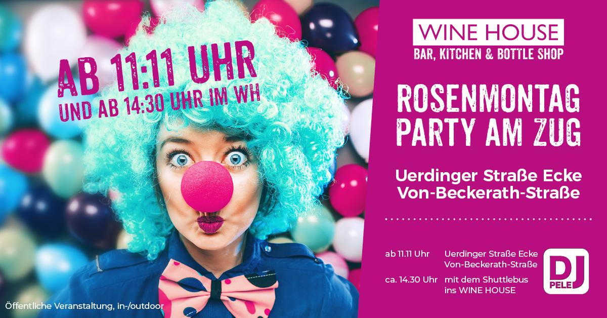 Rosenmontag 2020 begleiten wir den Zug und feiern eine Karnevalsparty im WINE HOUSE Krefeld