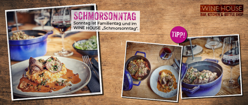 Sonntag ist Familientag im WINE HOUSE - Mit hausgemachten Rinderrouladen auf Kartoffel-Möhren-Stampf im Schmortopf.