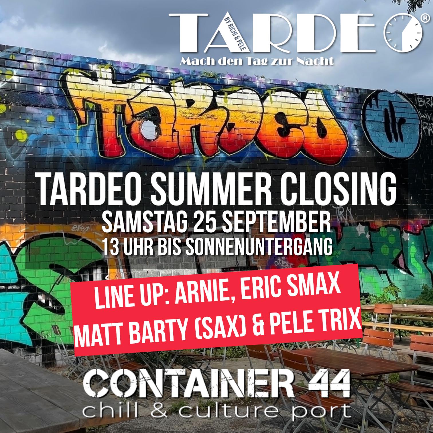 Veranstaltungshinweis auf die TARDEO Party am 25.09.2021 ab 13:00 Uhr in Container 44 auf dem Krefelder Großmarkt